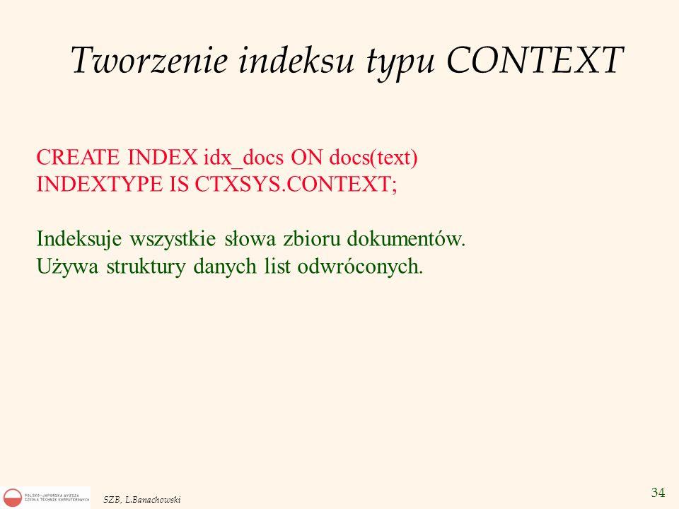 Tworzenie indeksu typu CONTEXT