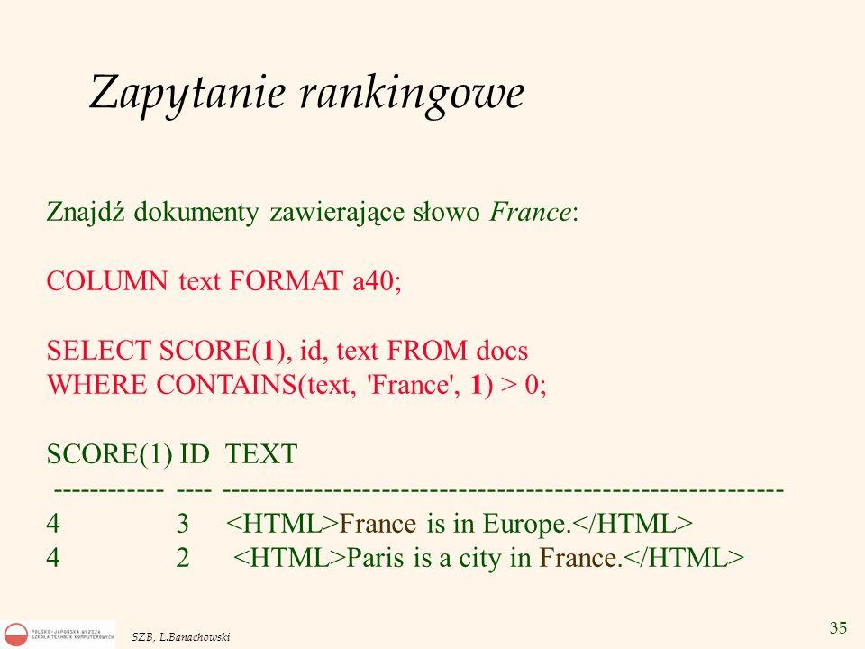 Zapytanie rankingowe Znajdź dokumenty zawierające słowo France: