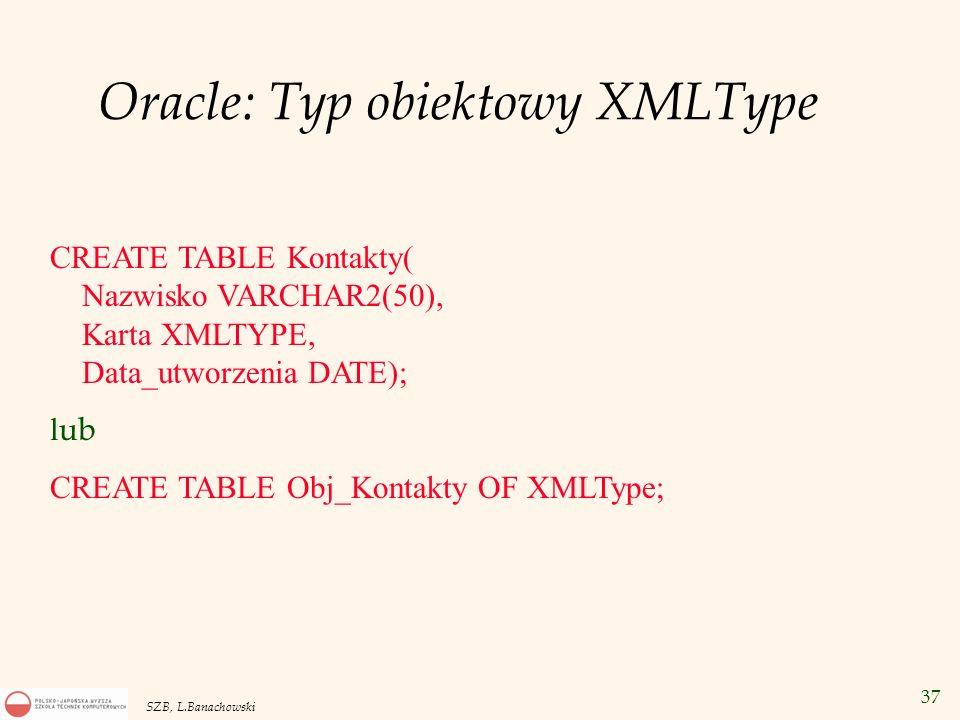 Oracle: Typ obiektowy XMLType