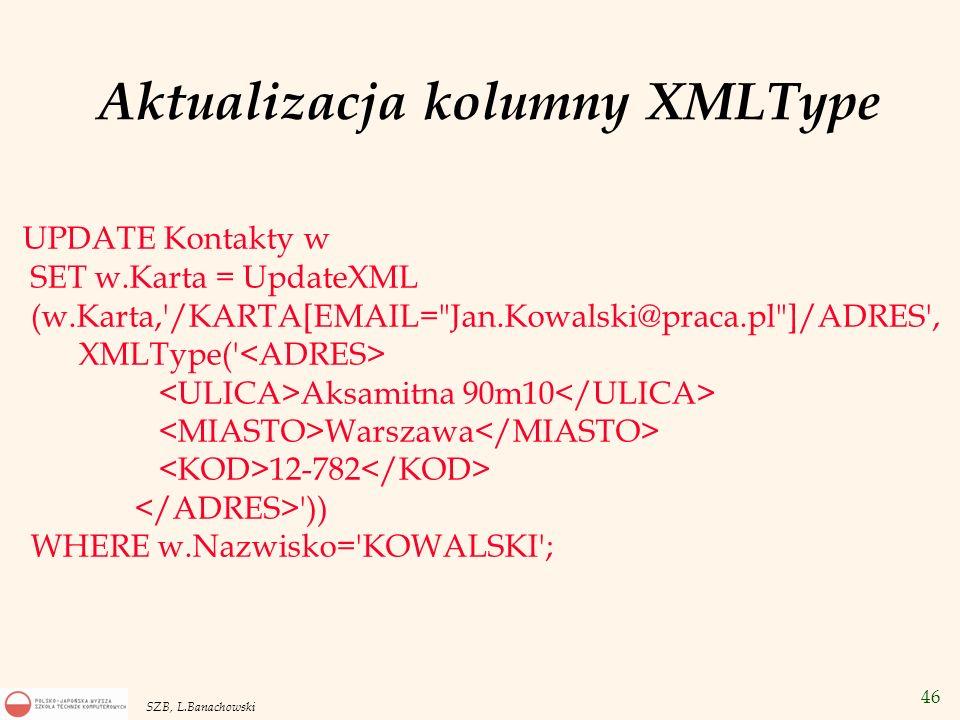Aktualizacja kolumny XMLType