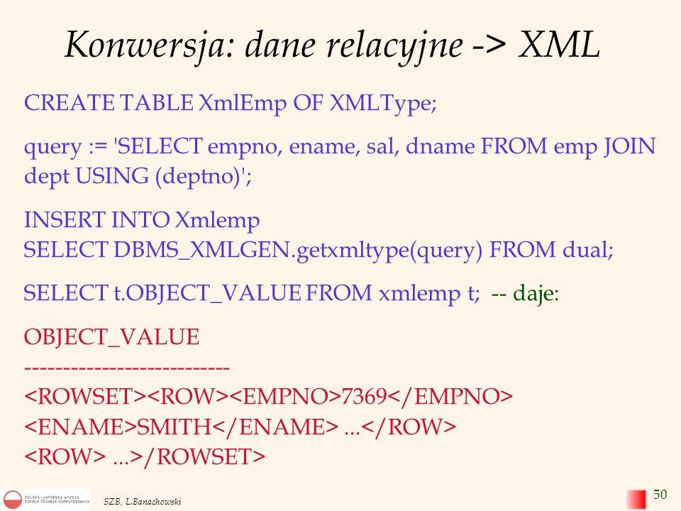 Konwersja: dane relacyjne -> XML