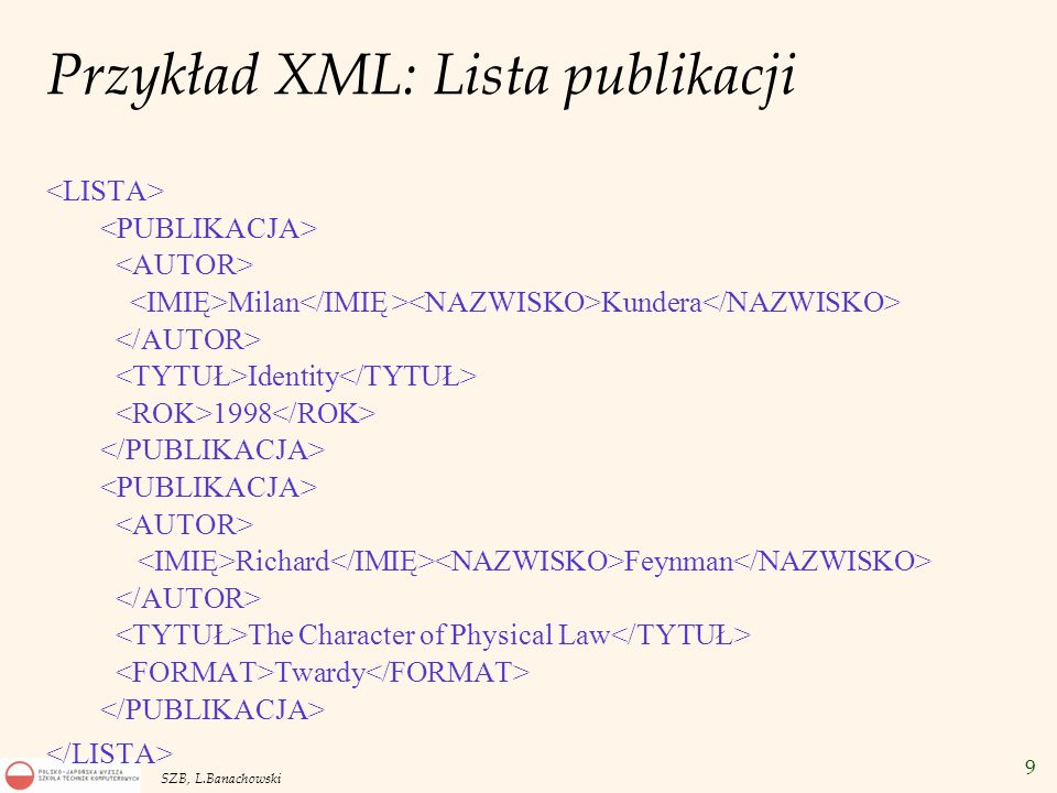 Przykład XML: Lista publikacji