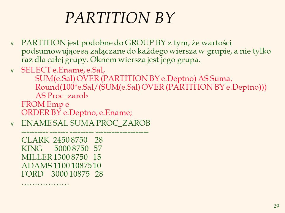 PARTITION BY