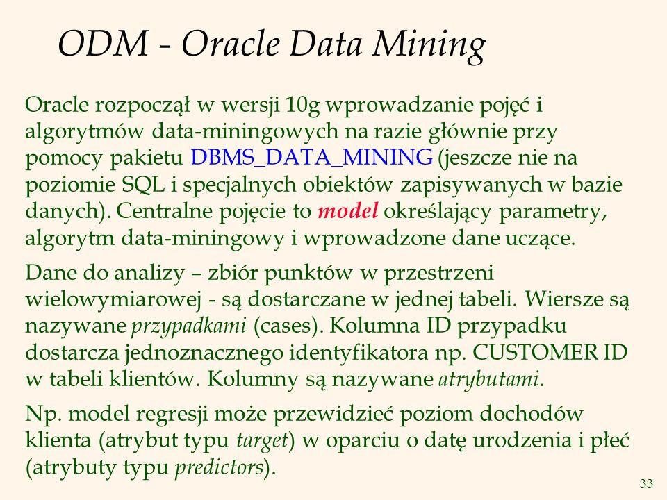 ODM - Oracle Data Mining