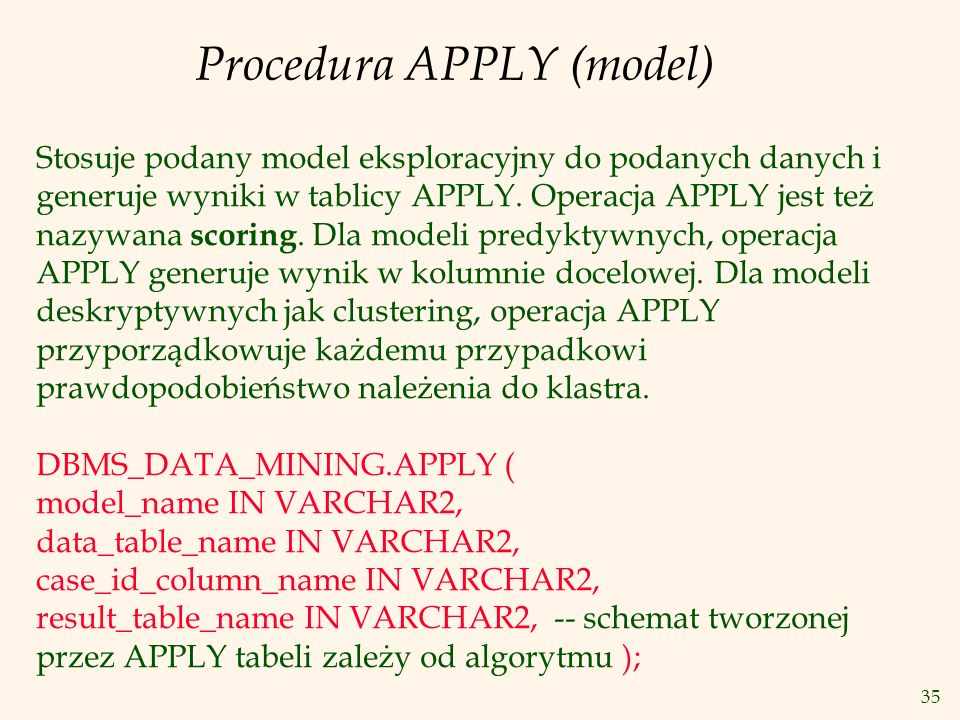 Procedura APPLY (model)