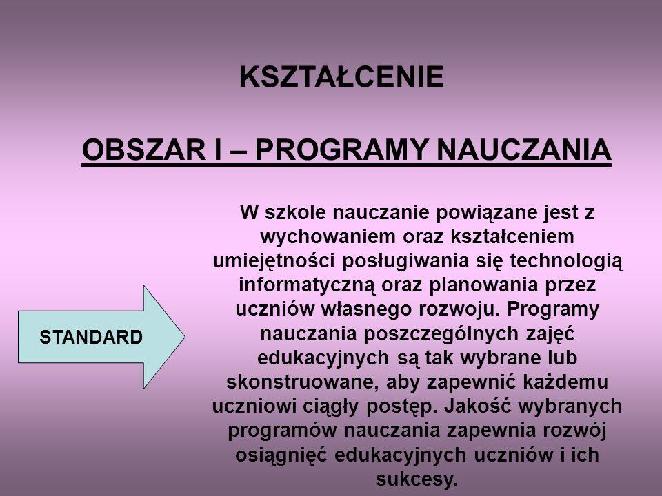 OBSZAR I – PROGRAMY NAUCZANIA