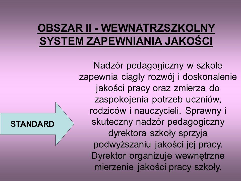 OBSZAR II - WEWNATRZSZKOLNY SYSTEM ZAPEWNIANIA JAKOŚCI