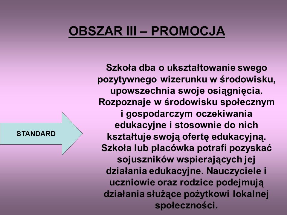 OBSZAR III – PROMOCJA