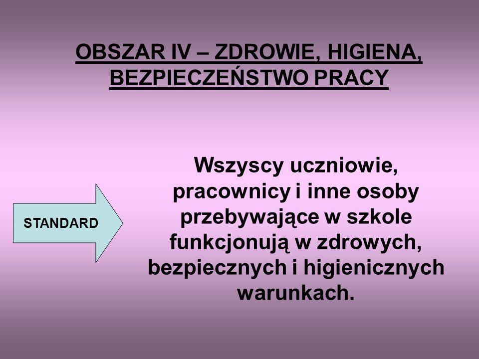 OBSZAR IV – ZDROWIE, HIGIENA, BEZPIECZEŃSTWO PRACY