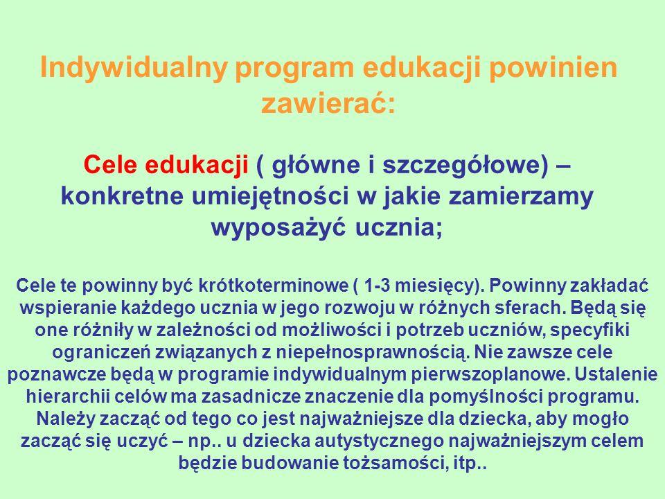 Indywidualny program edukacji powinien zawierać:
