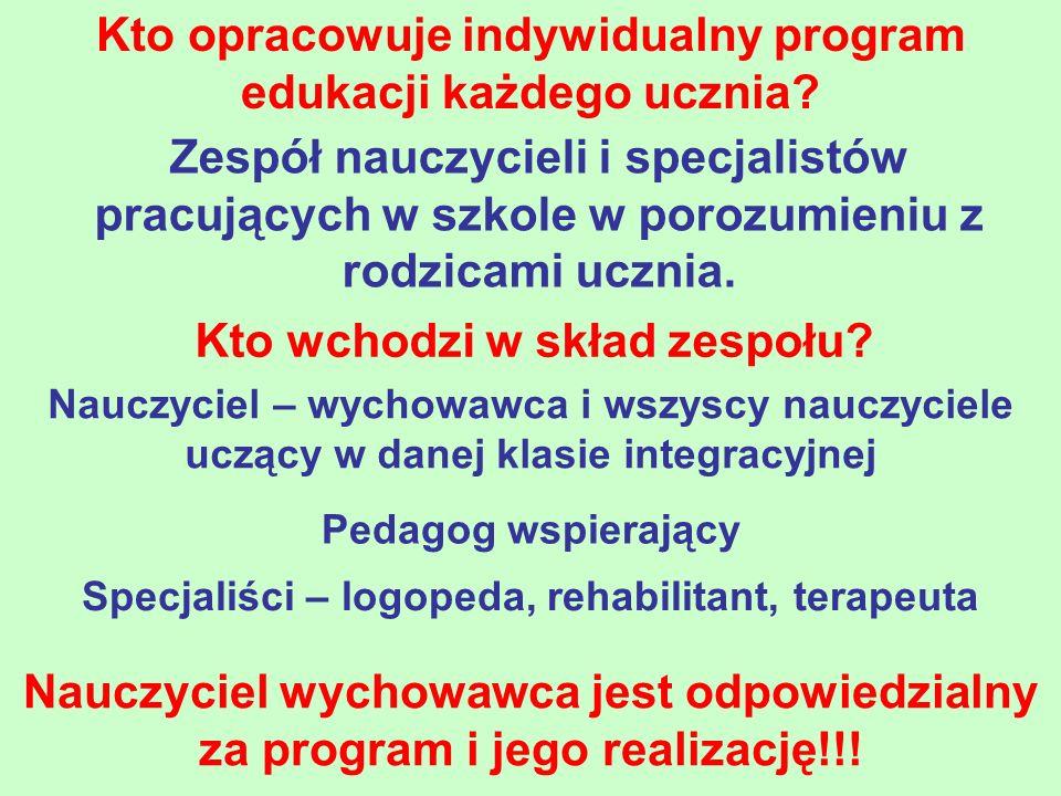 Kto opracowuje indywidualny program edukacji każdego ucznia
