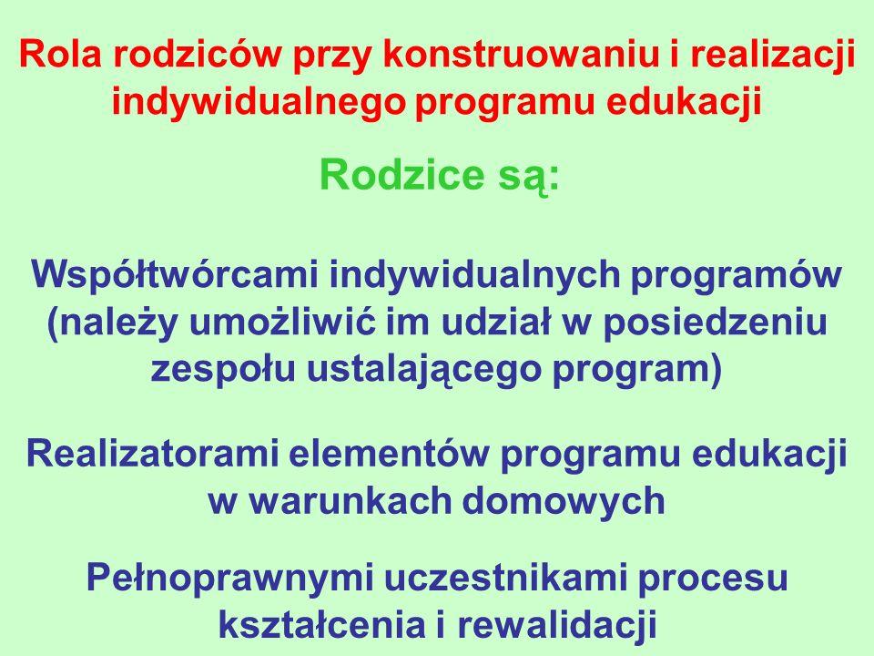 Rola rodziców przy konstruowaniu i realizacji indywidualnego programu edukacji