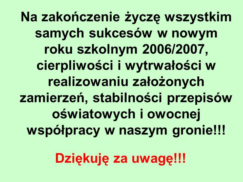 Na zakończenie życzę wszystkim samych sukcesów w nowym roku szkolnym 2006/2007, cierpliwości i wytrwałości w realizowaniu założonych zamierzeń, stabilności przepisów oświatowych i owocnej współpracy w naszym gronie!!!