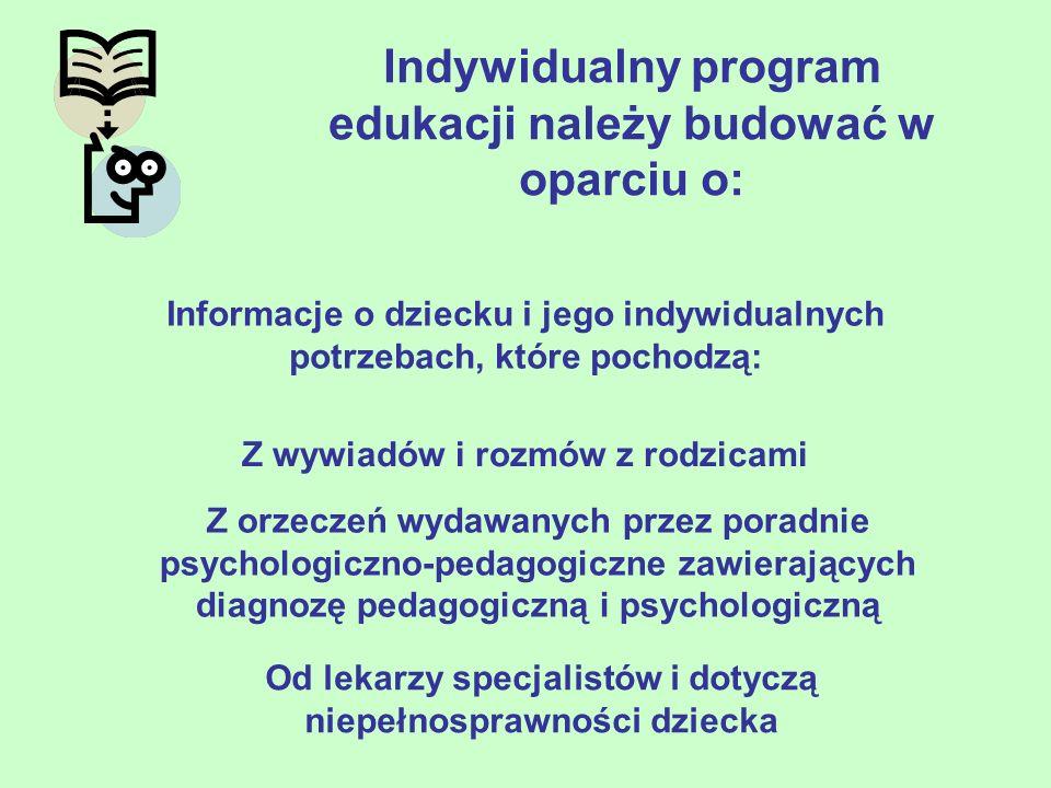 Indywidualny program edukacji należy budować w oparciu o: