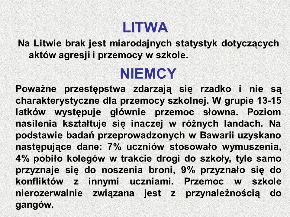 LITWA Na Litwie brak jest miarodajnych statystyk dotyczących aktów agresji i przemocy w szkole. NIEMCY.