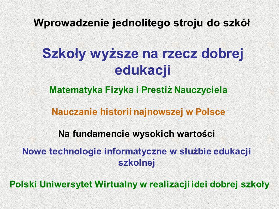 Szkoły wyższe na rzecz dobrej edukacji
