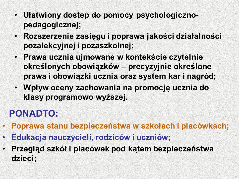 PONADTO: Ułatwiony dostęp do pomocy psychologiczno-pedagogicznej;
