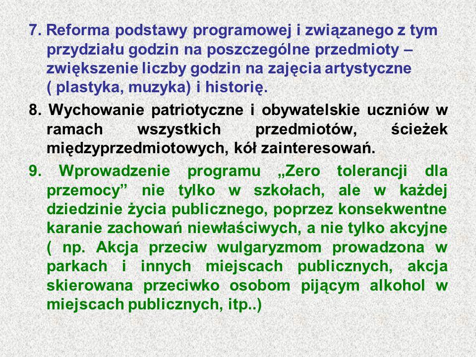 7. Reforma podstawy programowej i związanego z tym przydziału godzin na poszczególne przedmioty – zwiększenie liczby godzin na zajęcia artystyczne ( plastyka, muzyka) i historię.