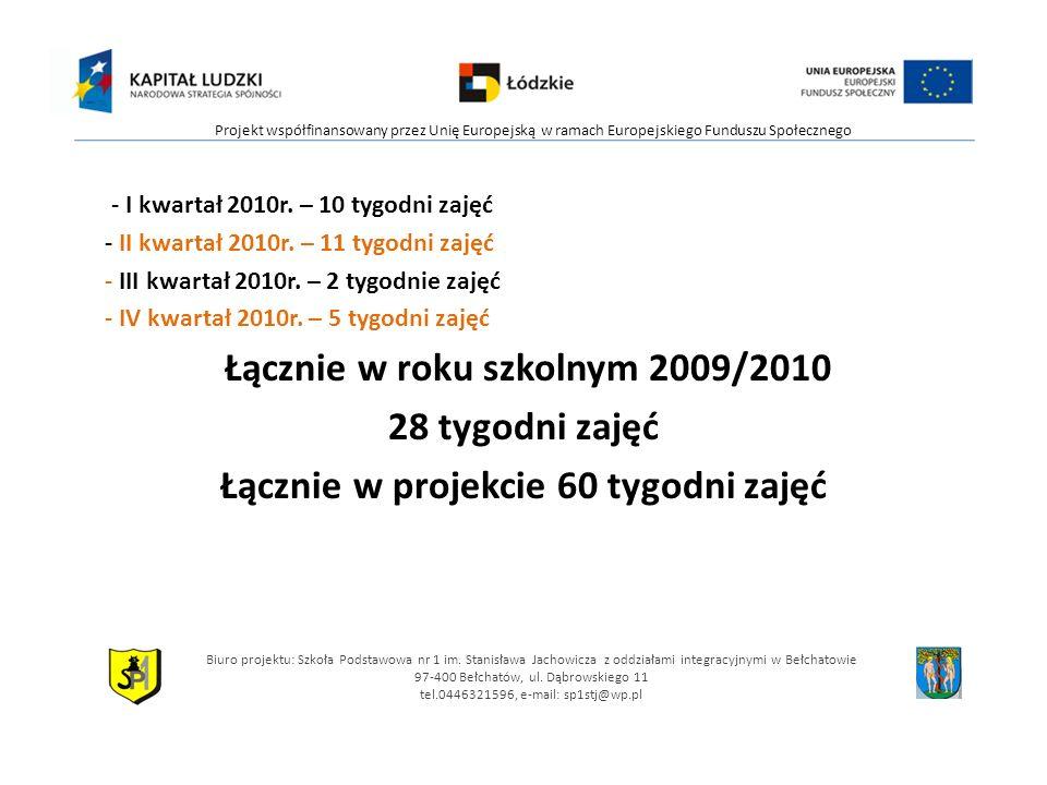 Łącznie w roku szkolnym 2009/2010 Łącznie w projekcie 60 tygodni zajęć