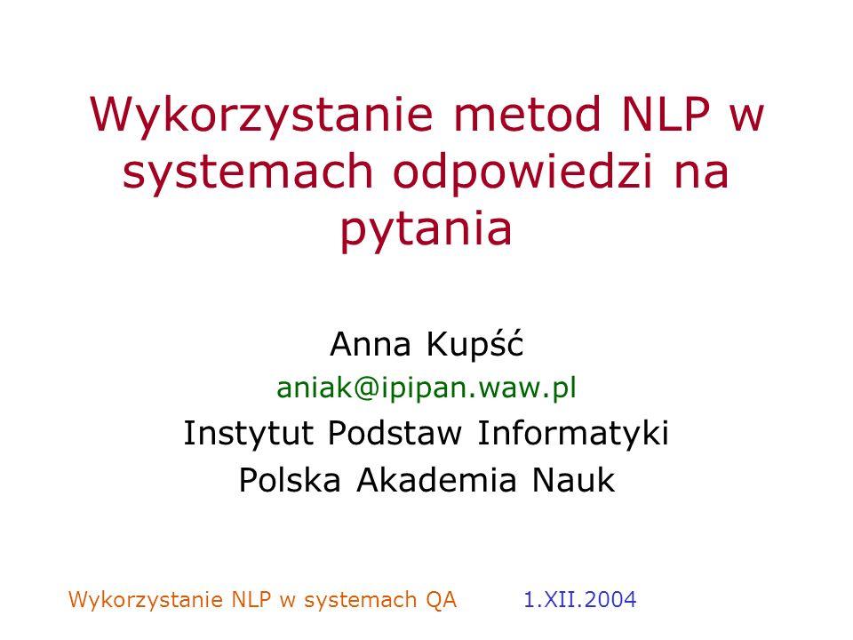 Wykorzystanie metod NLP w systemach odpowiedzi na pytania