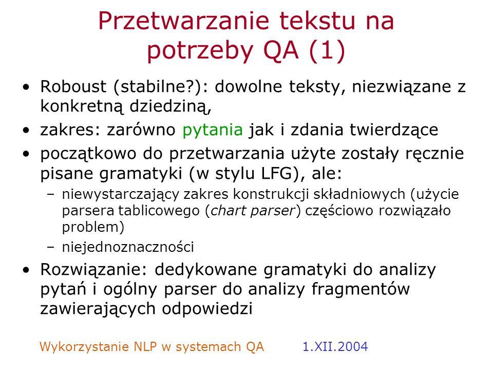 Przetwarzanie tekstu na potrzeby QA (1)