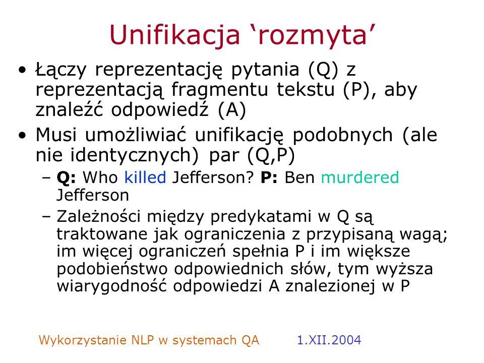 Unifikacja 'rozmyta' Łączy reprezentację pytania (Q) z reprezentacją fragmentu tekstu (P), aby znaleźć odpowiedź (A)