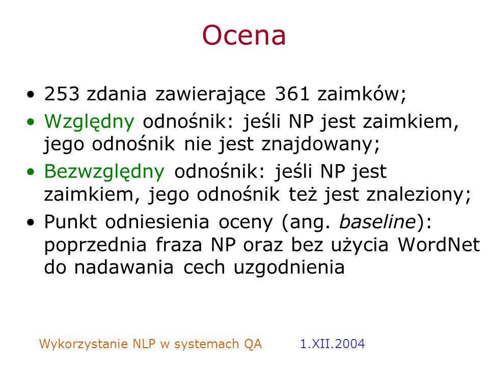 Ocena 253 zdania zawierające 361 zaimków;