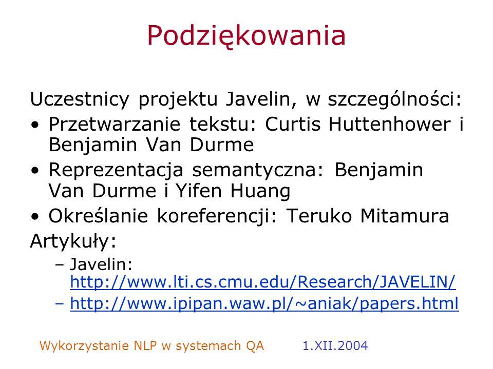 Podziękowania Uczestnicy projektu Javelin, w szczególności: