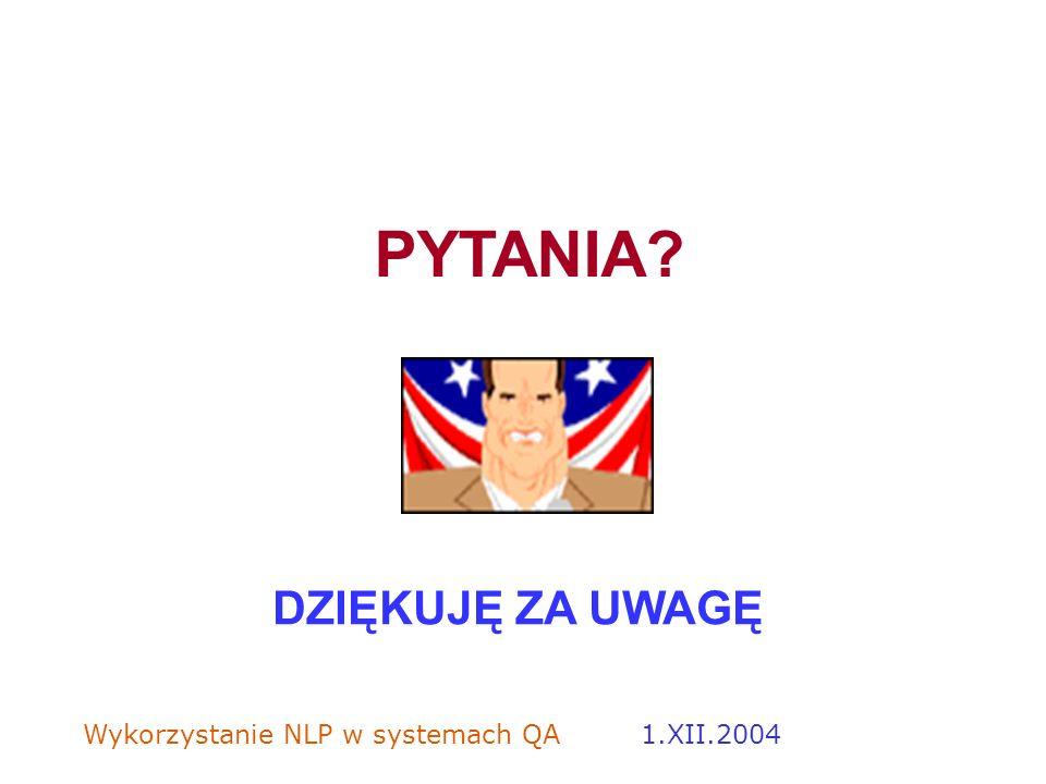 PYTANIA DZIĘKUJĘ ZA UWAGĘ 1.XII.2004
