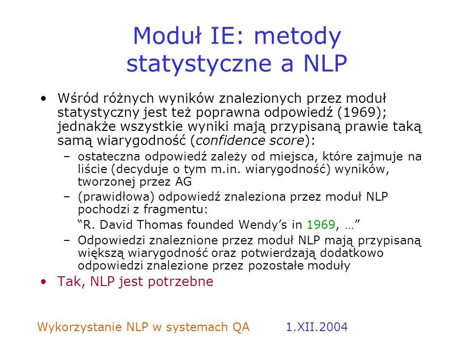 Moduł IE: metody statystyczne a NLP