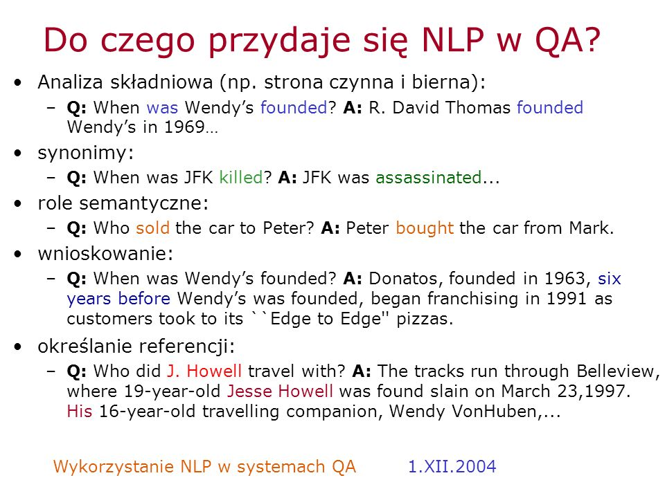 Do czego przydaje się NLP w QA