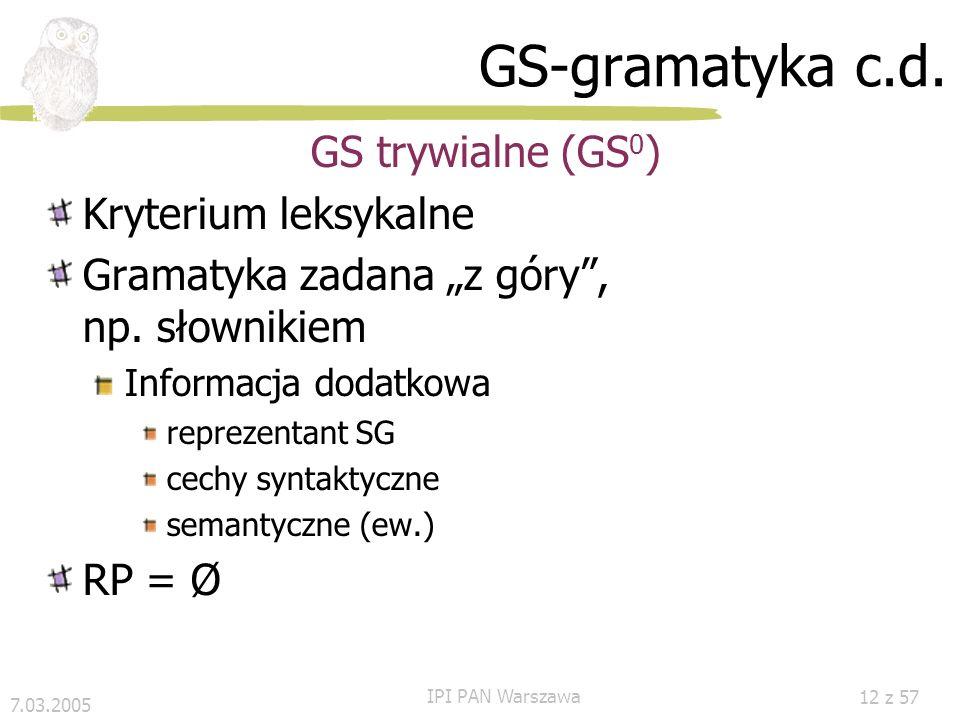 GS-gramatyka c.d. GS trywialne (GS0) Kryterium leksykalne