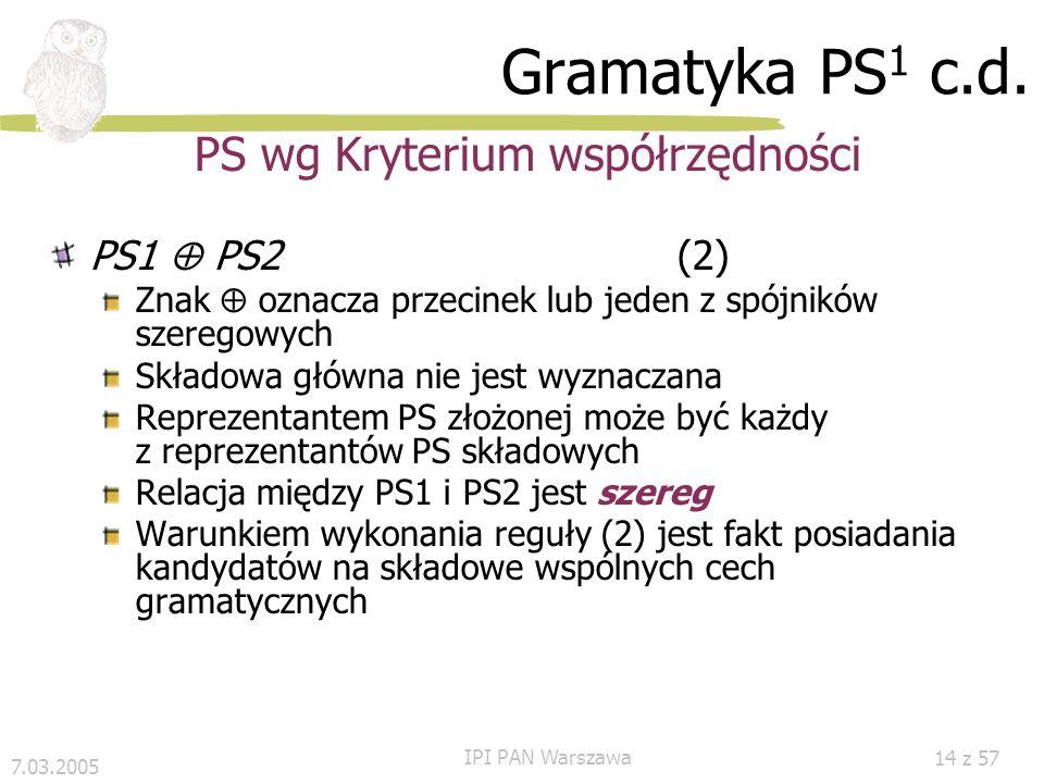 PS wg Kryterium współrzędności