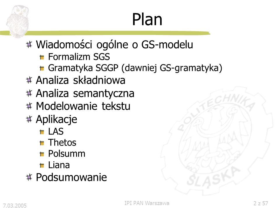 Plan Wiadomości ogólne o GS-modelu Analiza składniowa