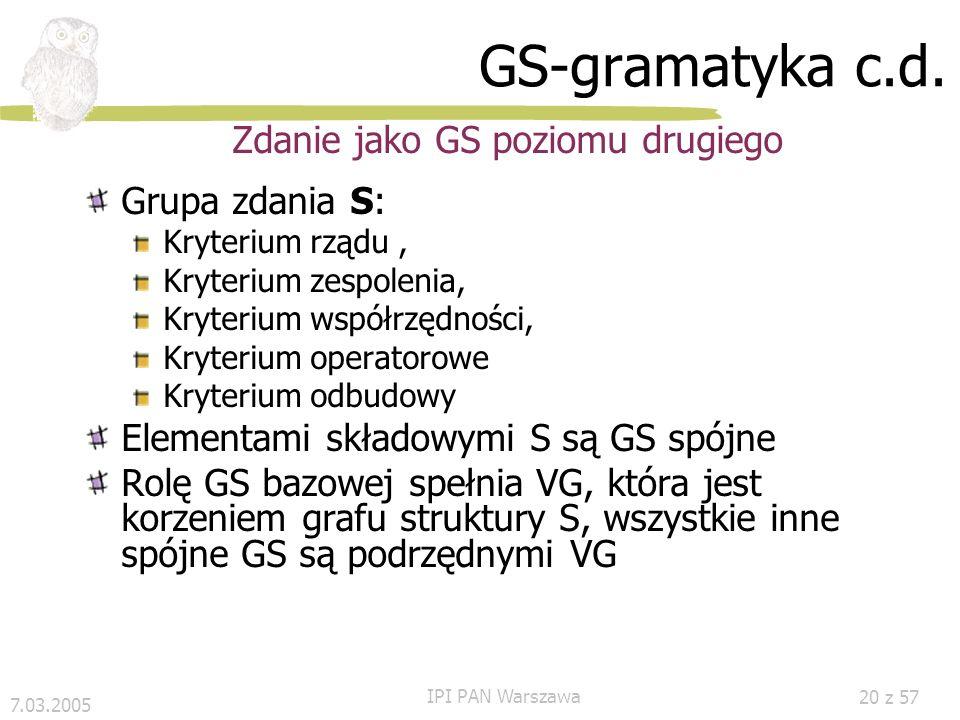 Zdanie jako GS poziomu drugiego