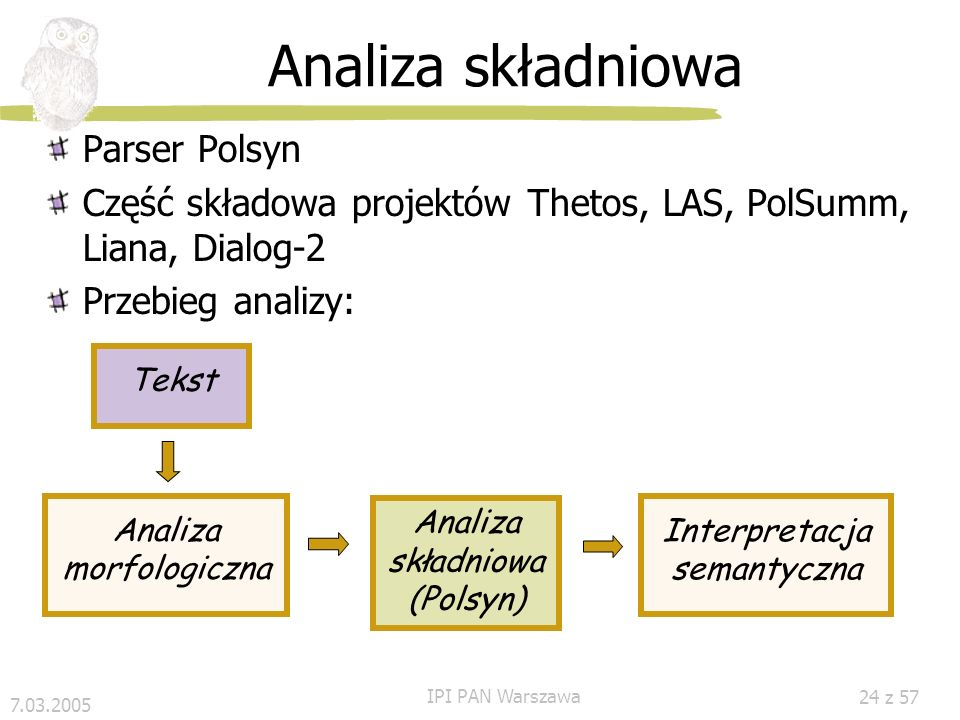 Analiza składniowa Parser Polsyn