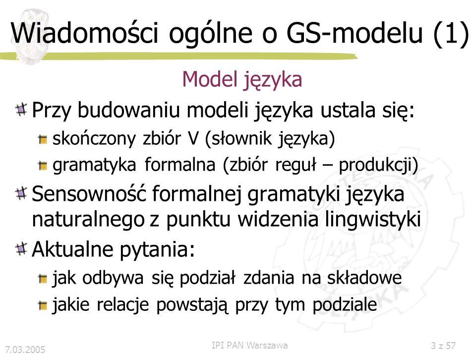 Wiadomości ogólne o GS-modelu (1)