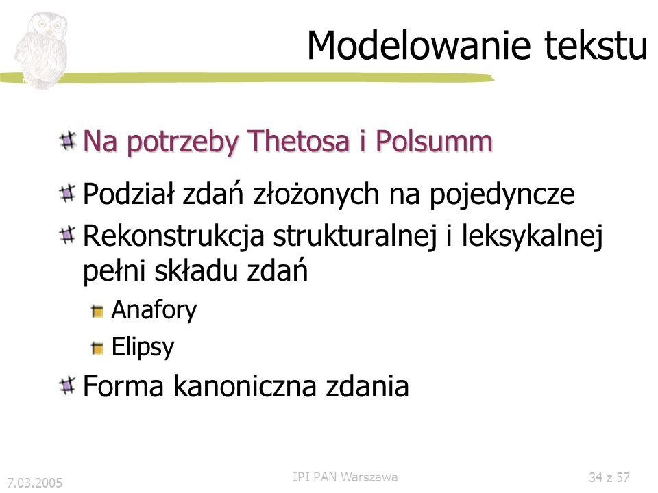 Modelowanie tekstu Na potrzeby Thetosa i Polsumm