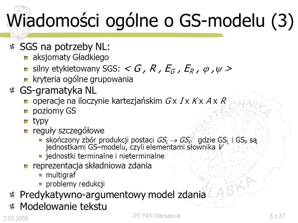 Wiadomości ogólne o GS-modelu (3)