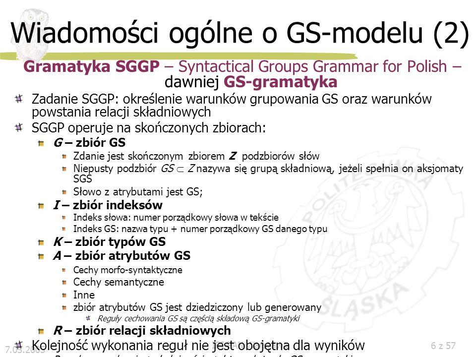 Wiadomości ogólne o GS-modelu (2)