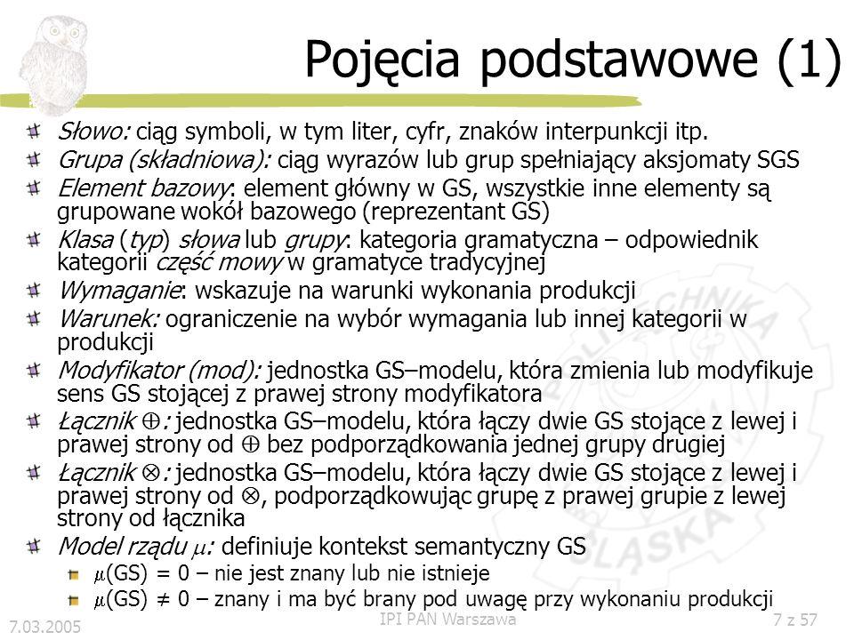 Pojęcia podstawowe (1) Słowo: ciąg symboli, w tym liter, cyfr, znaków interpunkcji itp.