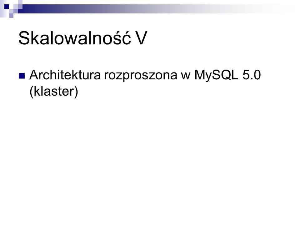 Skalowalność V Architektura rozproszona w MySQL 5.0 (klaster)