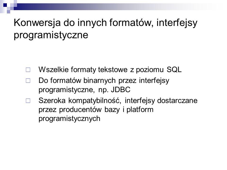 Konwersja do innych formatów, interfejsy programistyczne