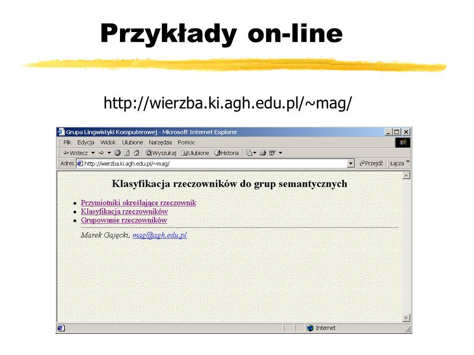 Przykłady on-line http://wierzba.ki.agh.edu.pl/~mag/