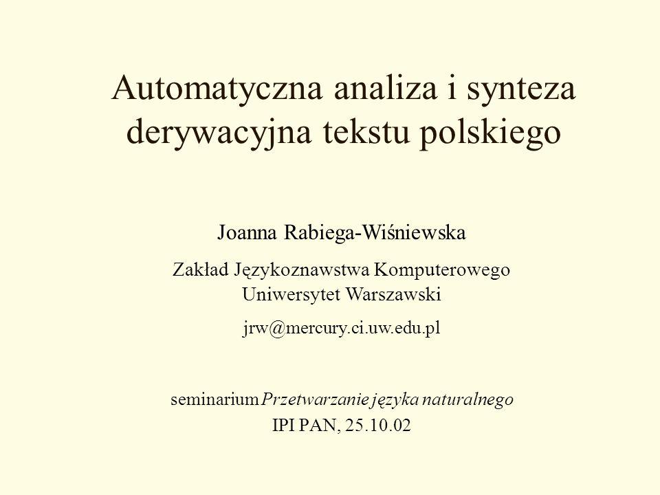 Automatyczna analiza i synteza derywacyjna tekstu polskiego