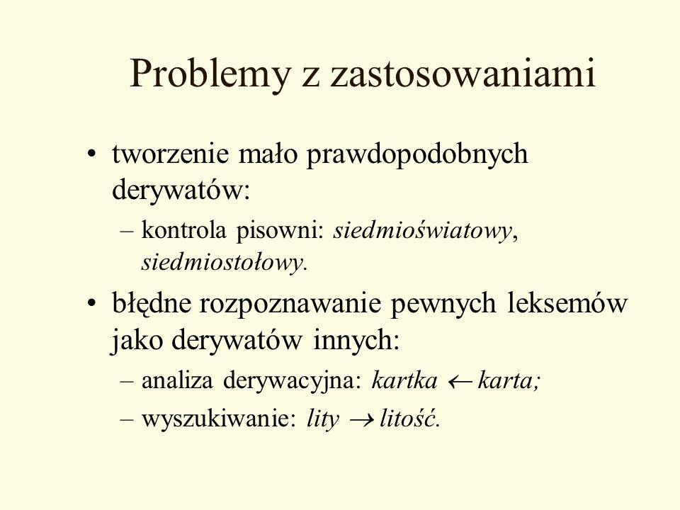 Problemy z zastosowaniami