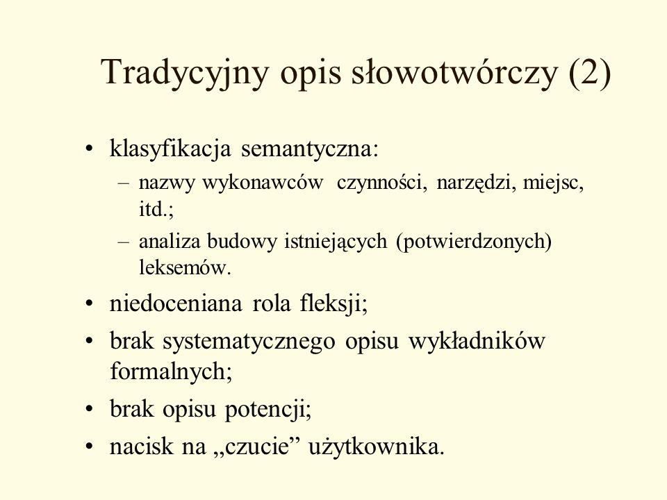 Tradycyjny opis słowotwórczy (2)