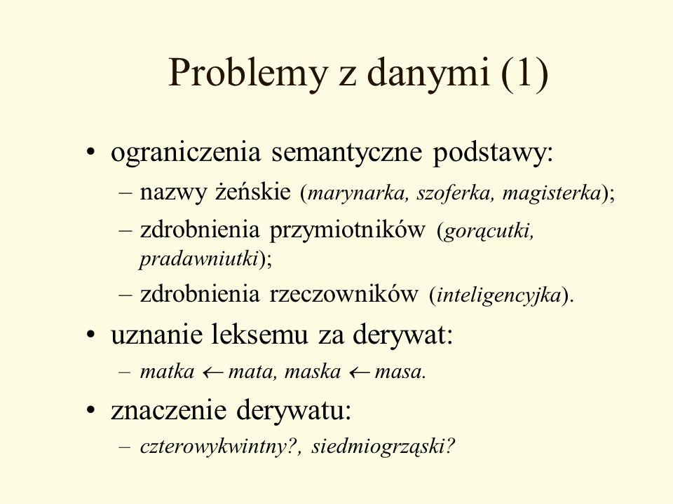 Problemy z danymi (1) ograniczenia semantyczne podstawy: