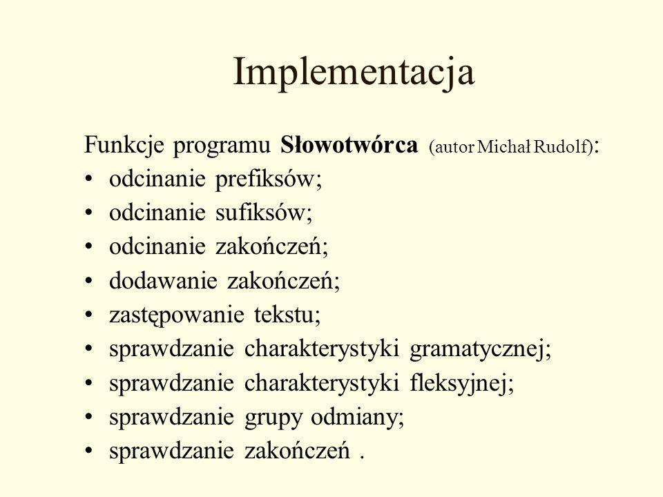 Implementacja Funkcje programu Słowotwórca (autor Michał Rudolf):