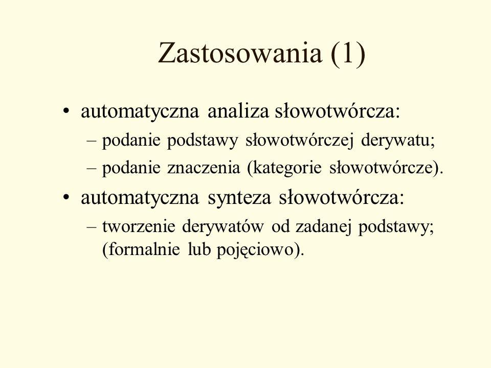 Zastosowania (1) automatyczna analiza słowotwórcza: